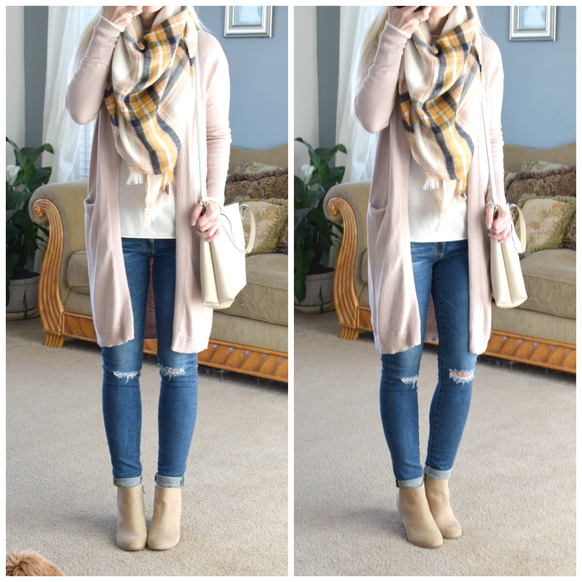 Oversized scarf and cardigan for a cozy yet pretty winter look |www.pearlsandsportsbras.com|