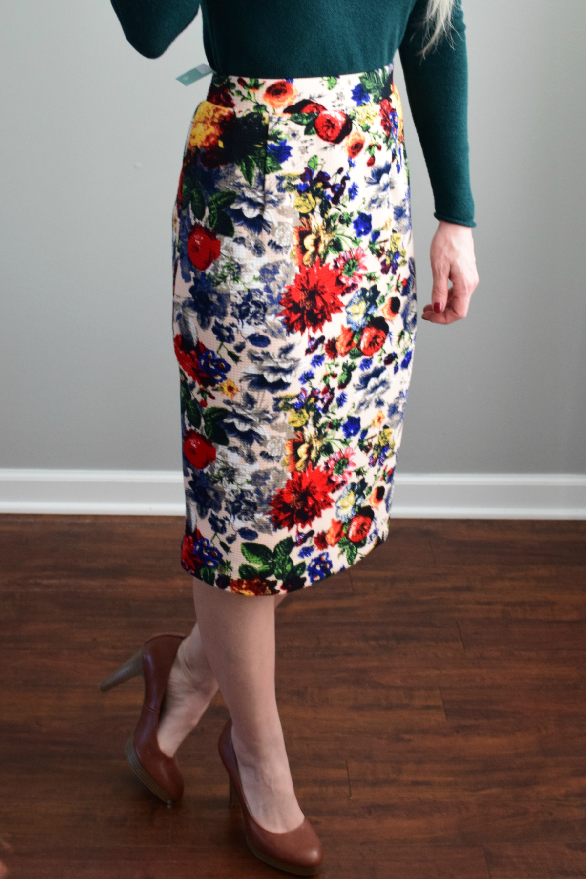 December 2016 Stitch Fix Review: Pixley Eve Floral Skirt  www.pearlsandsportsbras.com 