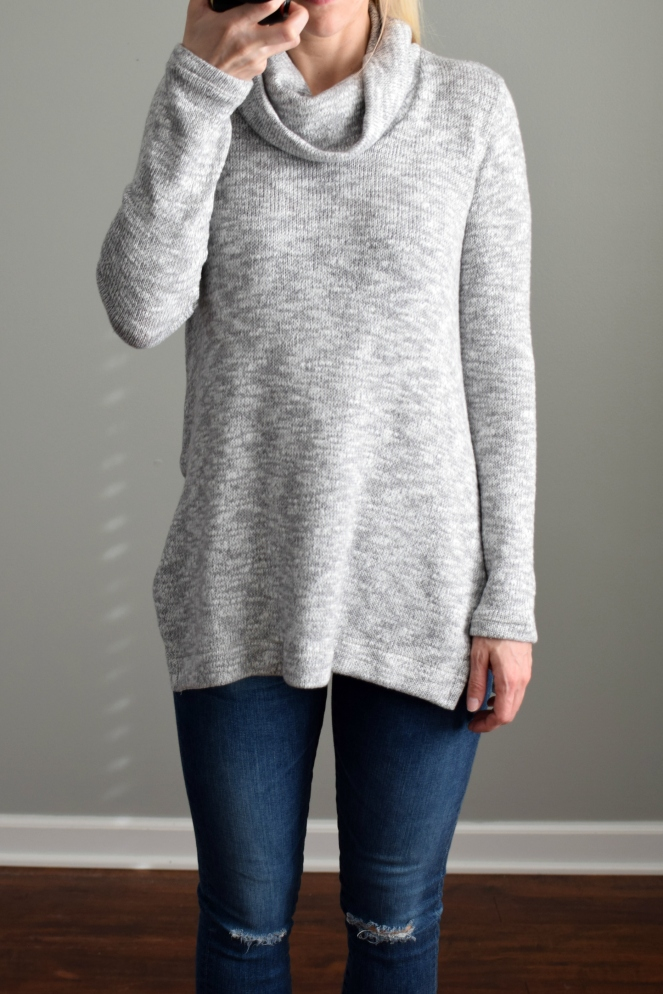 December 2016 Stitch Fix Review: Splendid Danna Cowl Neck Pullover Sweater |www.pearlsandsportsbras.com|