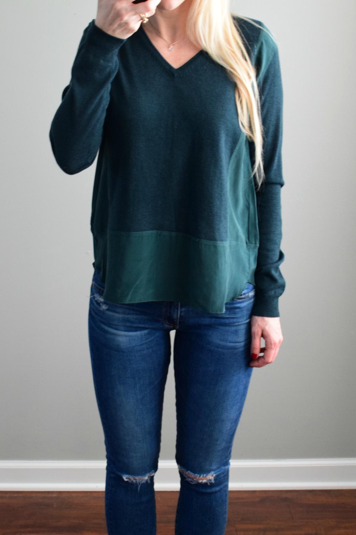 December 2016 Stitch Fix Review: The Korner Naoma Wool Sweater  www.pearlsandsportsbras.com 