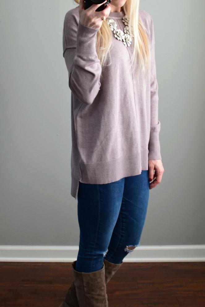 December 2016 Stitch Fix Review: Urbino Morganna Front Stitch Detail Pullover |www.pearlsandsportsbras.com|