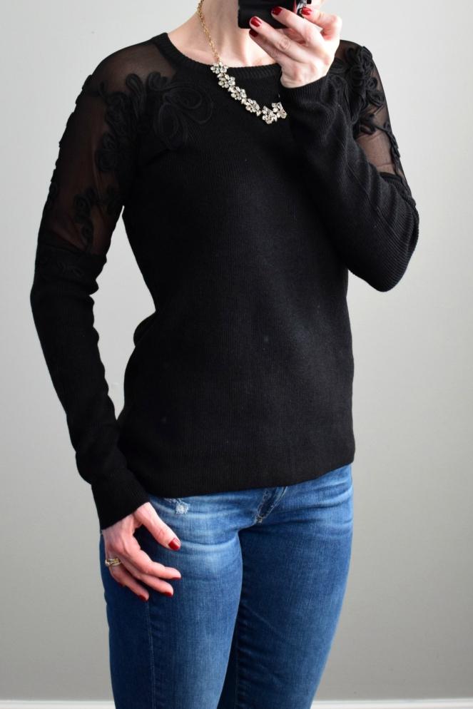 December 2016 Stitch Fix Review: Urbino Nej Mesh Sleeve Detail Pullover |www.pearlsandsportsbras.com|