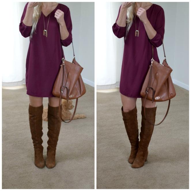 OTK boots and perfect fall dress |www.pearlsandsportsbras.com|