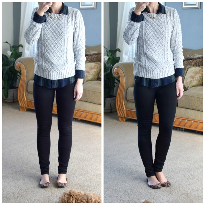 cable knit sweater, plaid, and leopard |www.pearlsandsportsbras.com|