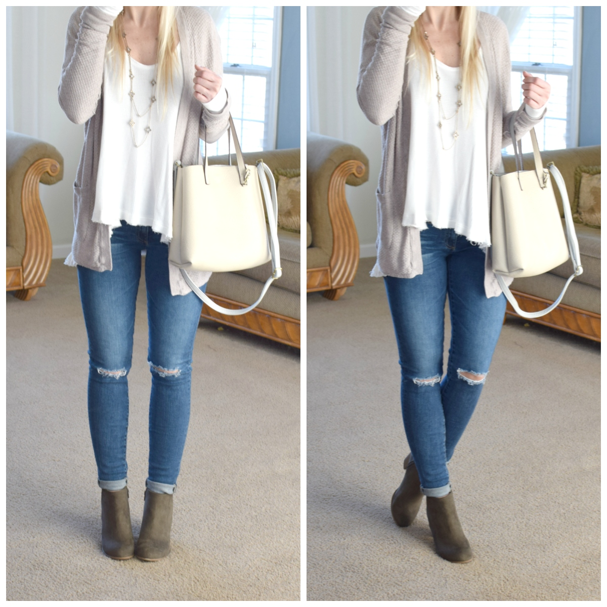 casual neutrals with olive booties  www.pearlsandsportsbras.com 