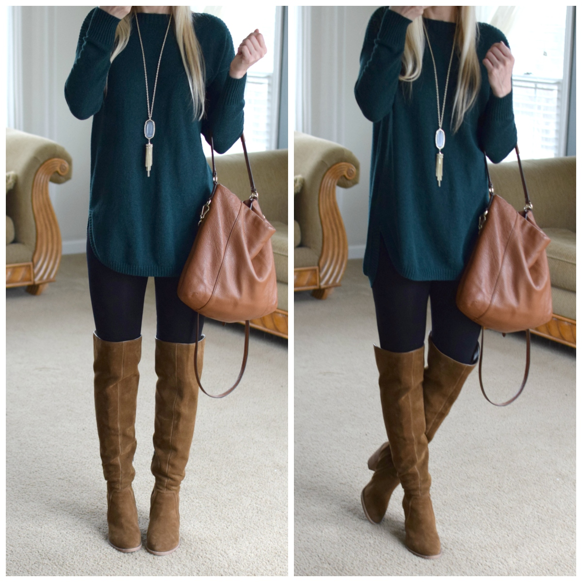 OTK boots and emerald green |www.pearlsandsportsbras.com|