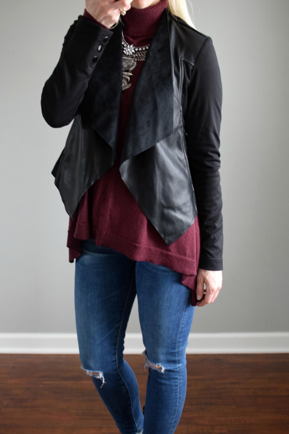 Stitch Fix Review February 2017: Edyson Maisha Ponte and Faux Leather Jacket |www.pearlsandsportsbras.com|