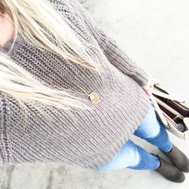 Neutral casual: olive booties and a chunky knit sweater |www.pearlsandsportsbras.com|