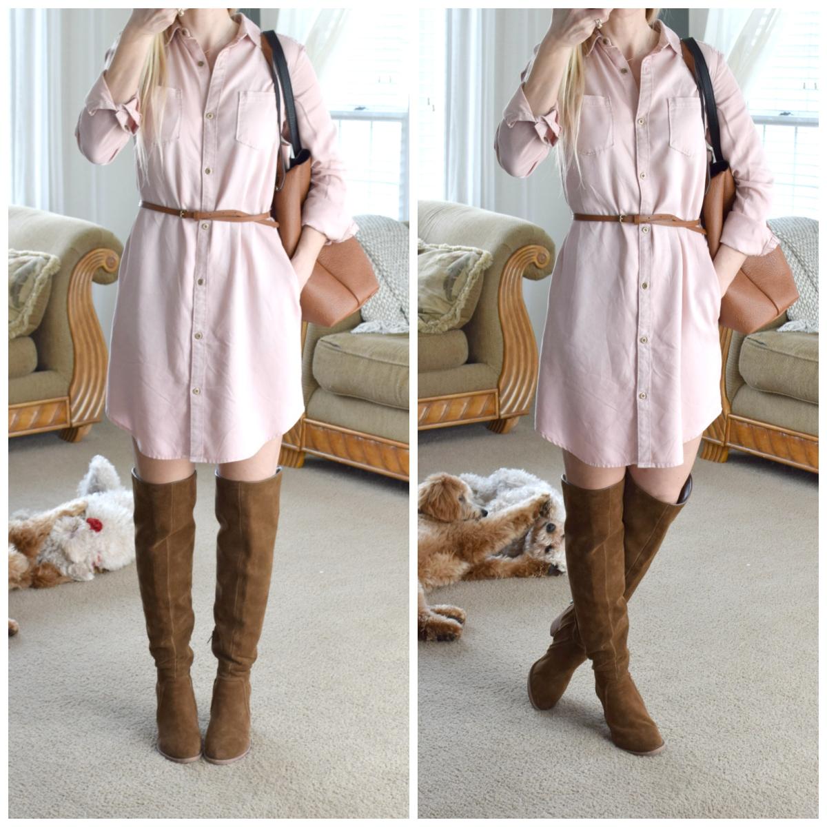 Pink Chambray Dress and OTK boots |www.pearlsandsportsbras.com|