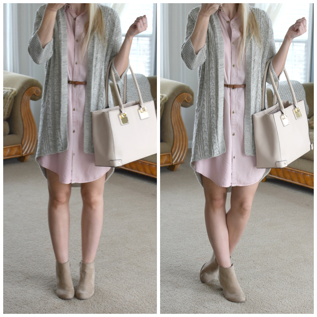 Pink Chambray Dress mixed with beige neutrals |www.pearlsandsportsbras.com|