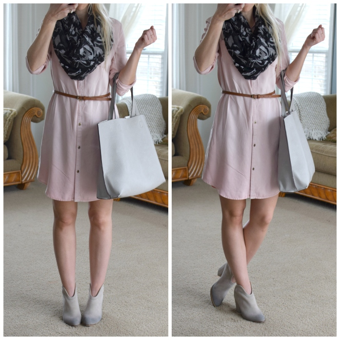 Pink Chambray Dress and ankle booties |www.pearlsandsportsbras.com|