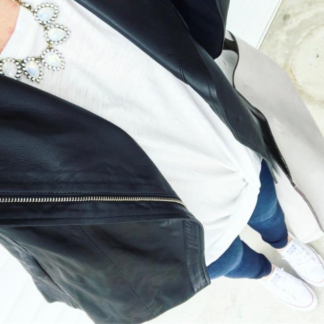 Moto jacket styled for spring |www.pearlsandsportsbras.com|