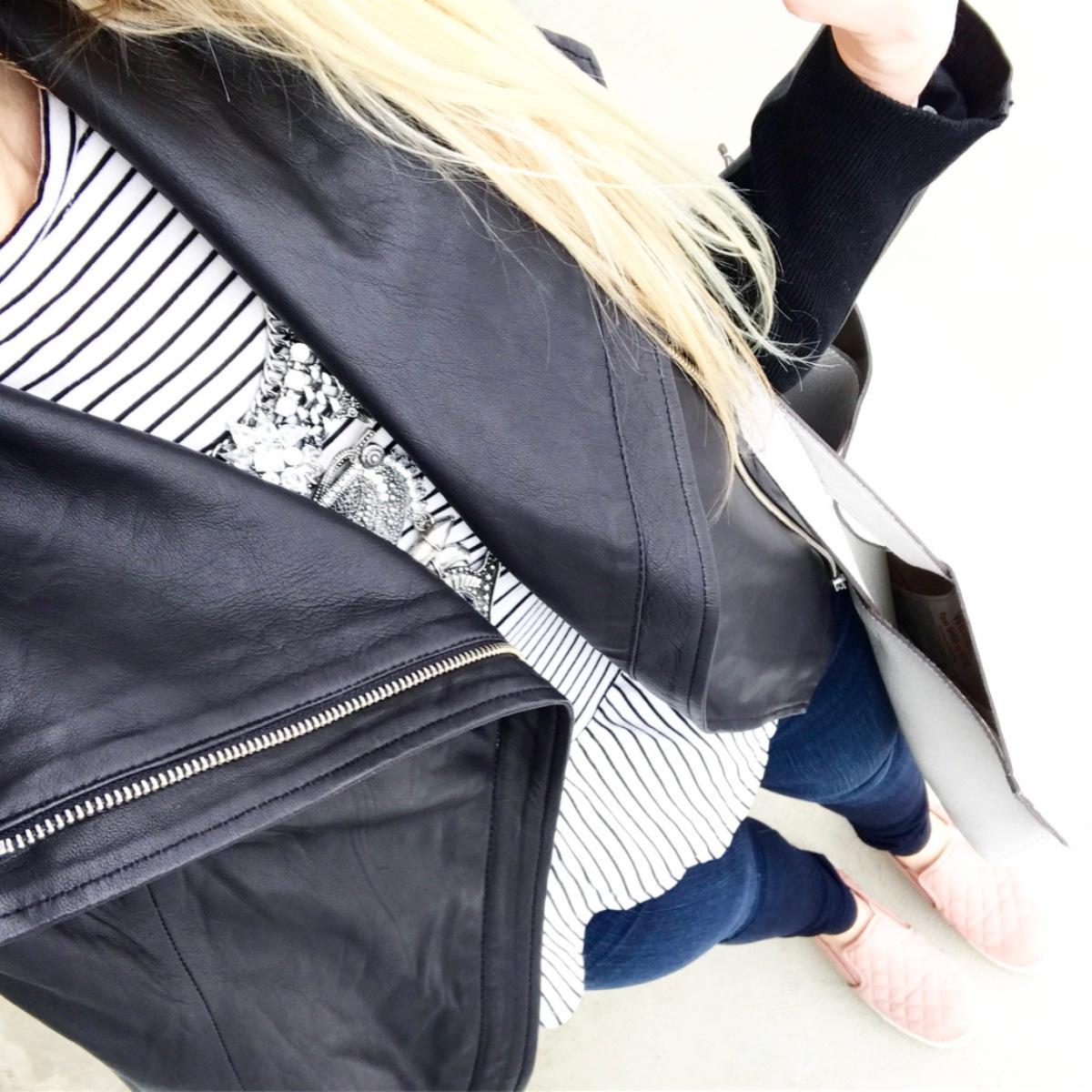 pretty, casual, leather jacket look |www.pearlsandsportsbras.com|