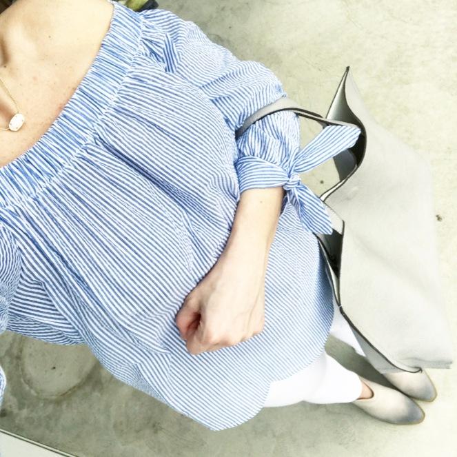 Off shoulder blue and white stripes for spring |www.pearlsandsportsbras.com|