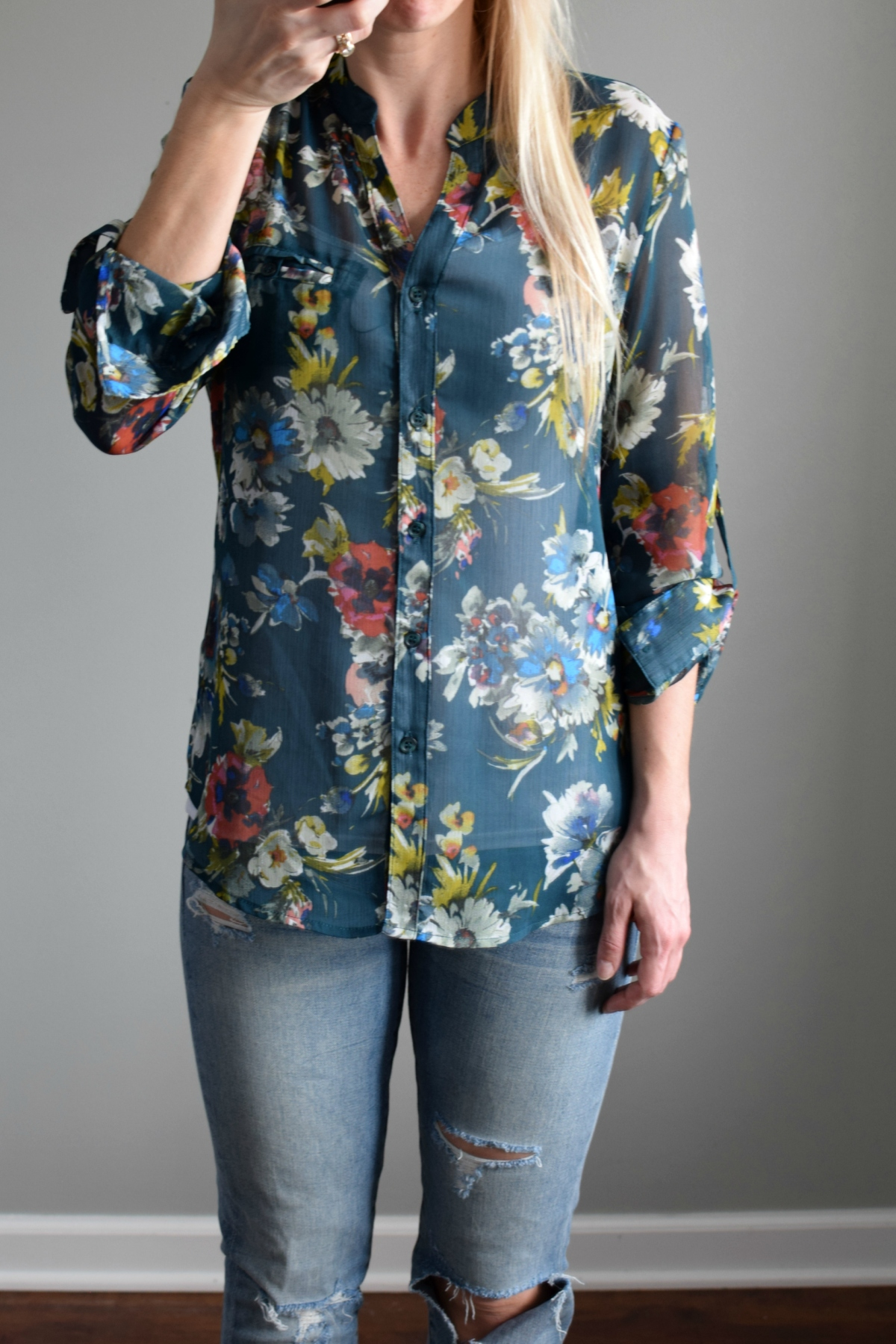 Stitch Fix Review March 2017: Kut from the Kloth Sinclaire Button Front Blouse |www.pearlsandsportsbras.com|