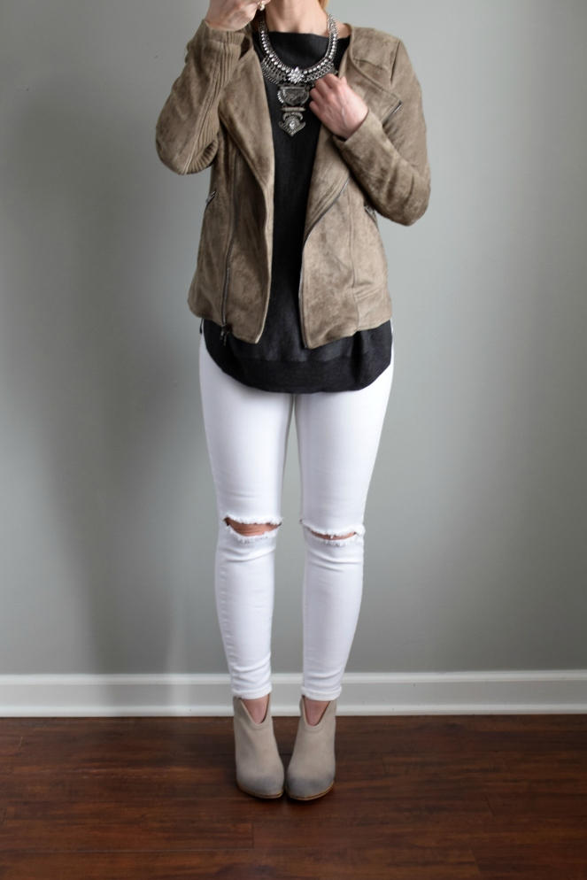 Stitch Fix Review March 2017: Miilla Chelsee Faux Suede Jacket |www.pearlsandsportsbras.com|