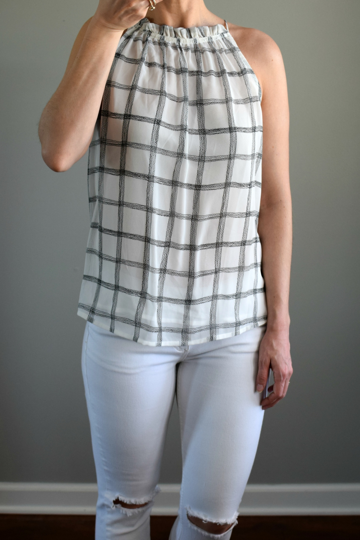 April 2017 Stitch Fix Review: Skies are Blue Maiya Halter Style Blouse |www.pearlsandsportsbras.com|
