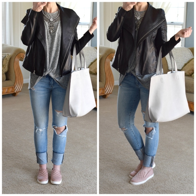 Cool and casual spring look: moto leather jacket and blush slip ons |www.pearlsandsportsbras.com|
