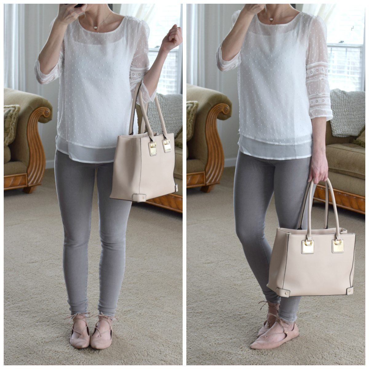 grey and blush outfit for spring |www.pearlsandsportsbras.com|