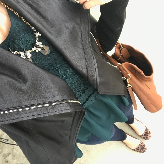 emerald green and a moto jacket paired with leopard |www.pearlsandsportsbras.com|