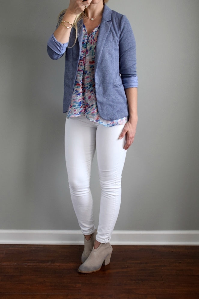 June 2017 Stitch Fix Review: Paradigma Daniqa Layered Hem Blouse and Skies are Blue Asa Knit Blazer |www.pearlsandsportsbras.com|