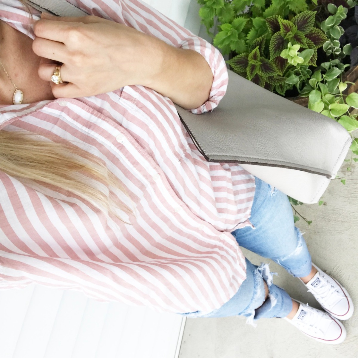 simple pink striped button-down and chucks |www.pearlsandsportsbras.com|