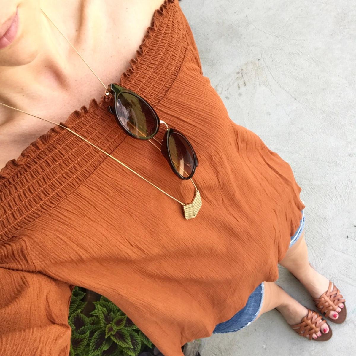 rust off the shoulder blouse |www.pearlsandsportsbras.com|