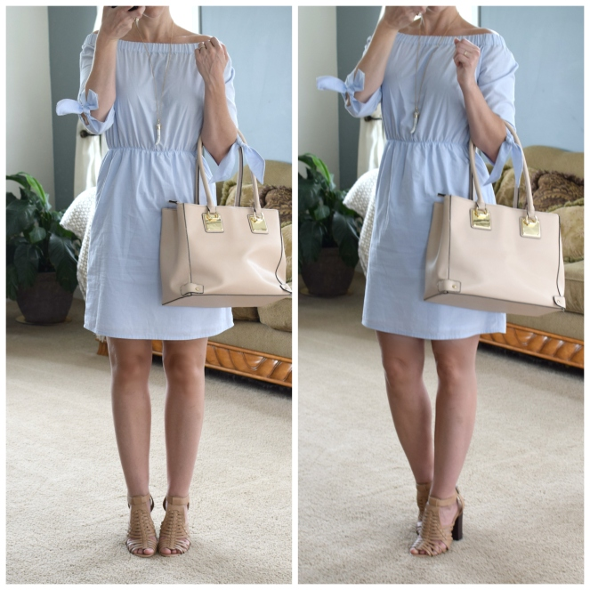 Lovely off the shoulder blue dress and neutral accents |www.pearlsandsportsbras.com|