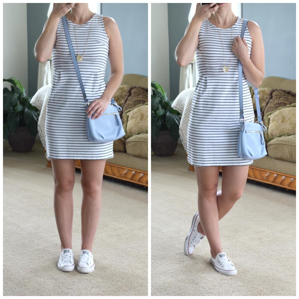 perfect striped dress, chucks, and pastel blue shoulder bag |www.pearlsandsportsbras.com|