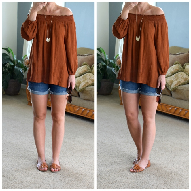 rust off the shoulder blouse |www.pearlsandsportsbras.com|