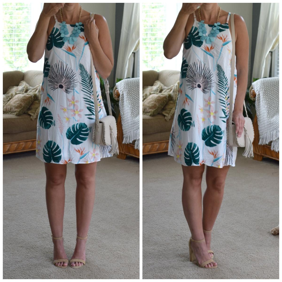 Beachy palm print dress |www.pearlsandsportsbras.com|