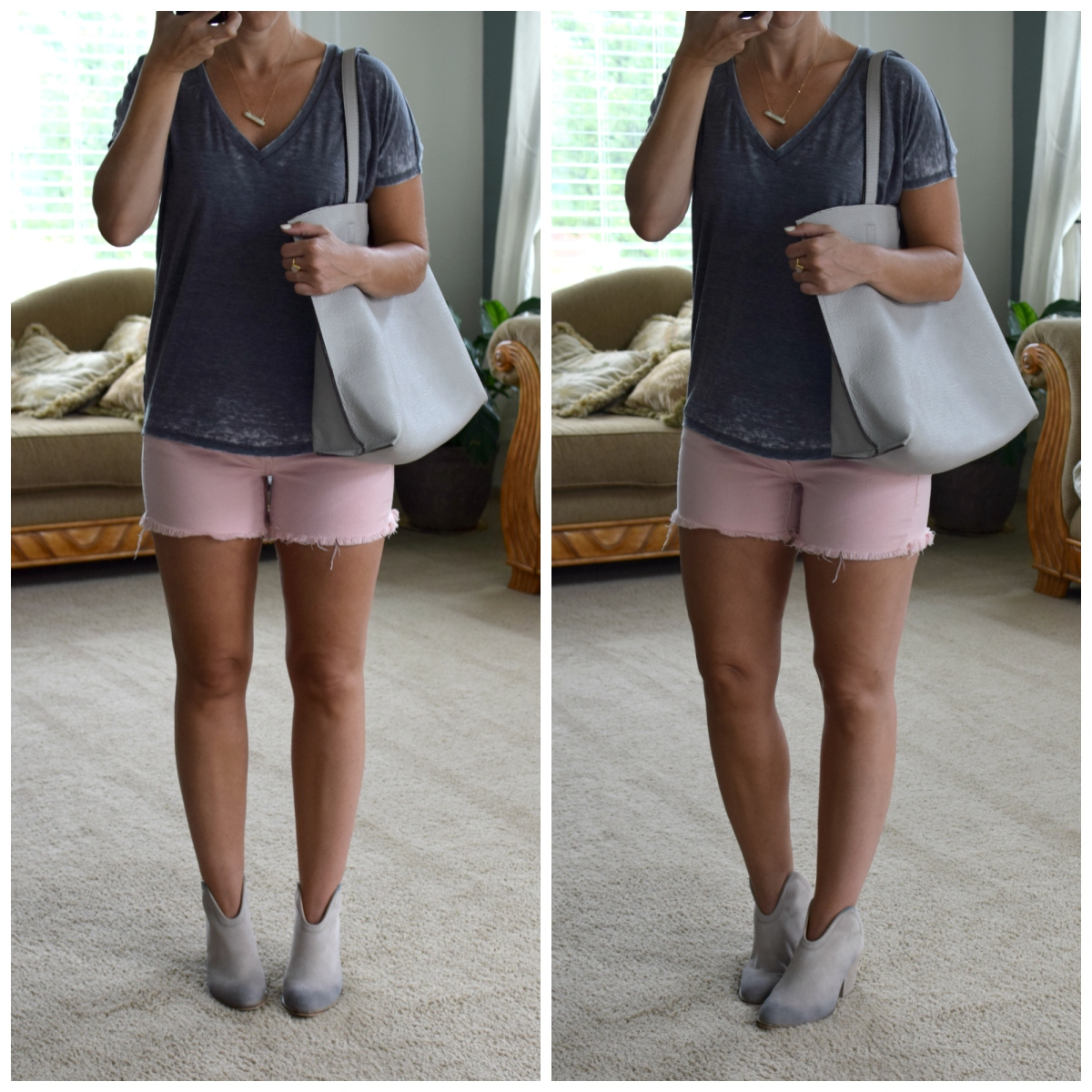 casual tee, cutoff shorts, and grey booties |www.pearlsandsportsbras.com|