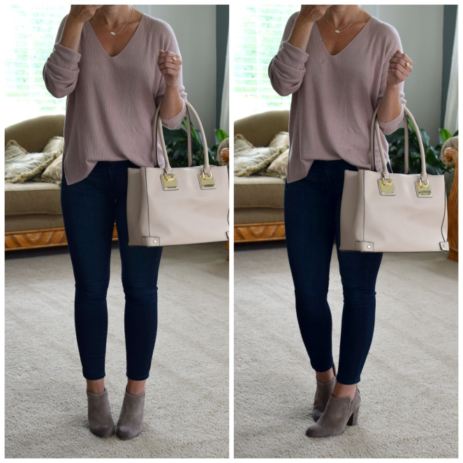 casual blush sweater and suede booties |www.pearlsandsportsbras.com|