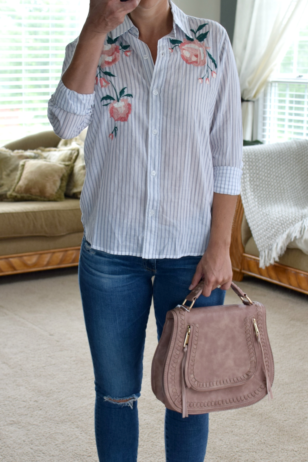 Stitch Fix Review August 2017: Rails Nevin Embroidered Detail Button Down Top and Urban Expressions Tamsin Saddle Crossbody  www.pearlsandsportsbras.com 