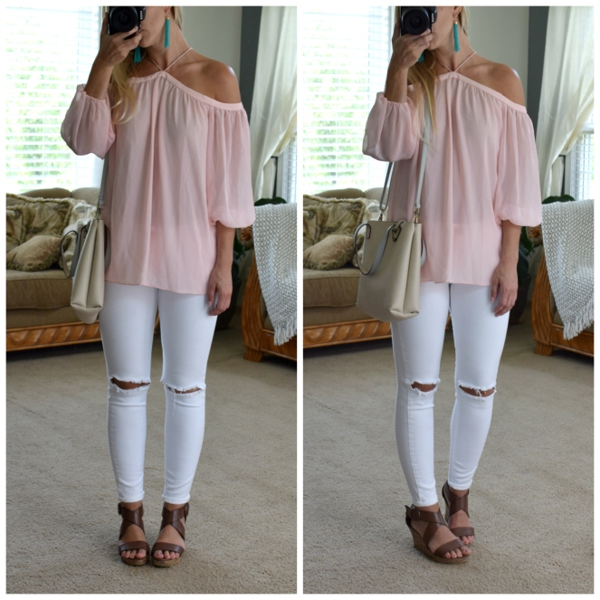 soft pink off the shoulder top mixed up with turquoise tassel earringsand white jeans |www.pearlsandsportsbras.com|