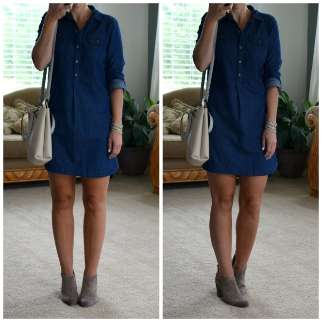 transition to fall look: chambray dress and suede booties |www.pearlsandsportsbras.com|