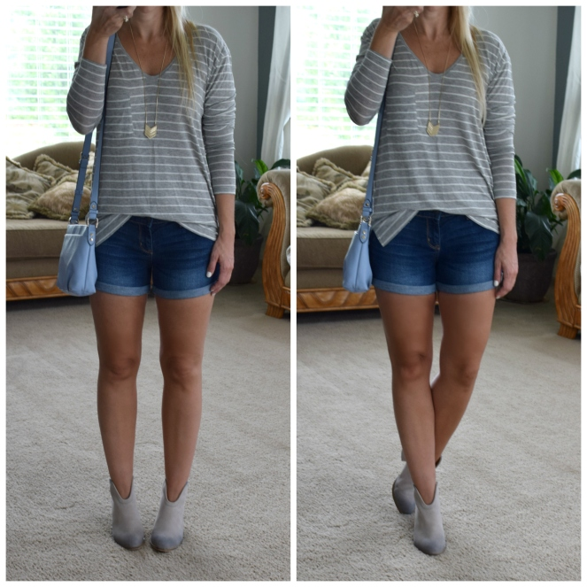 simple striped tee and ankle boots to tansition to fall |www.pearlsandsportsbras.com|