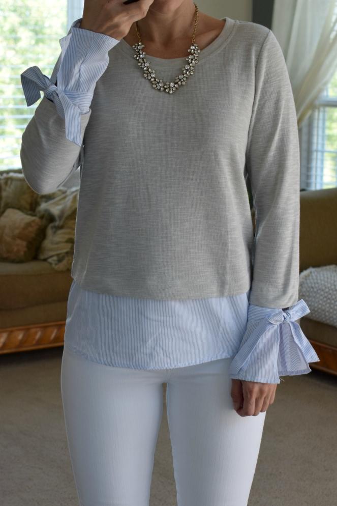 Stitch Fix Review September 2017: Noe Heights Kennie Woven Poplin Knit Top |www.pearlsandsportsbras.com|