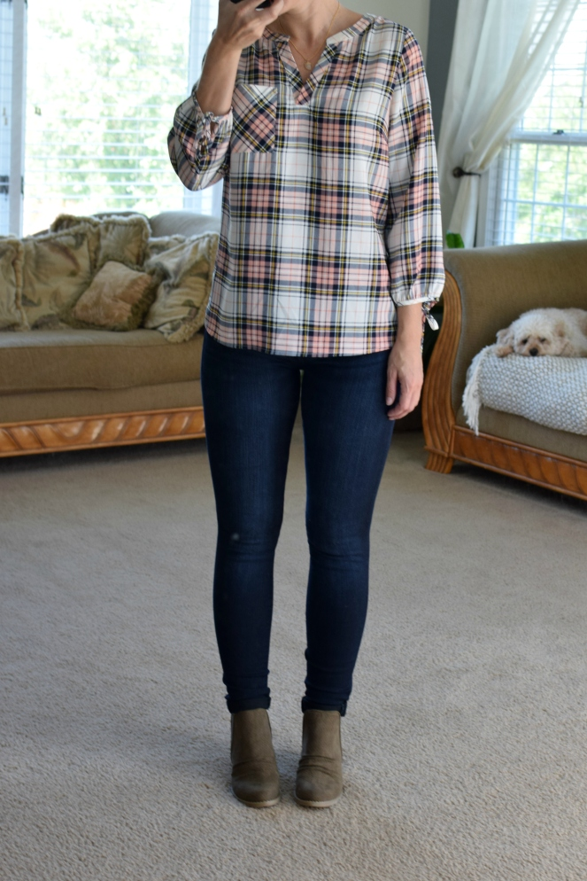 Stitch Fix Review September 2017: Skies are Blue Ozzy Tie Sleeve Blouse and Report Footwear Drewe Perforated Bootie |www.pearlsandsportsbras.com|