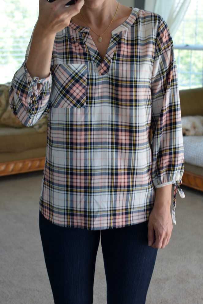 Stitch Fix Review September 2017: Skies are Blue Ozzy Tie Sleeve Blouse |www.pearlsandsportsbras.com|