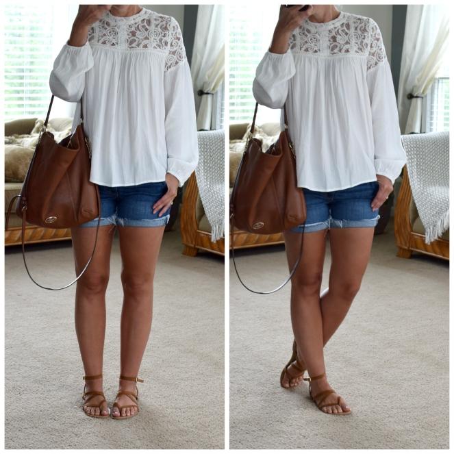 Lacy flowy blouse |www.pearlsandsportsbras.com|