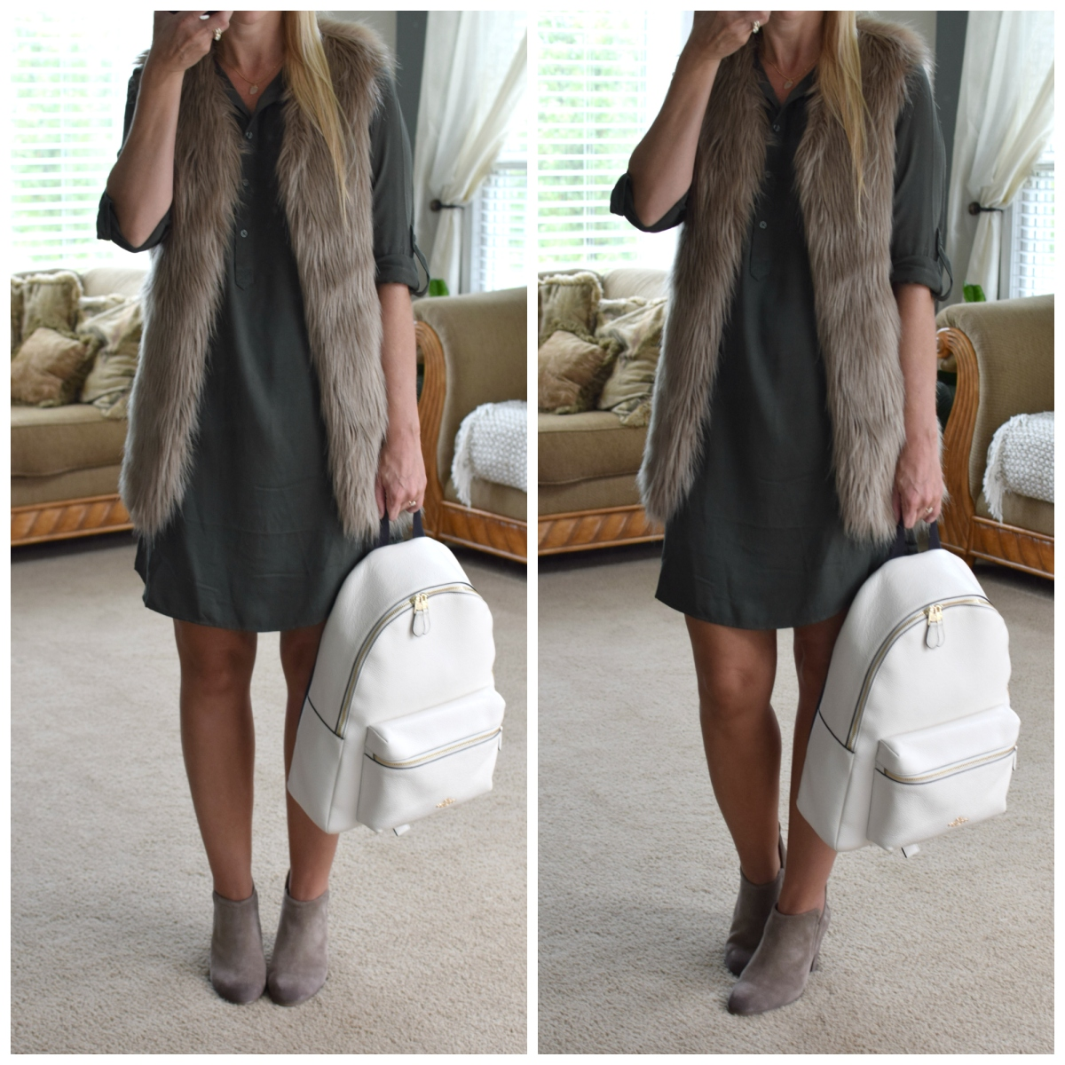 Utility dress paired with faux fur vest and booties for fall |www.pearlsandsportsbras.com|