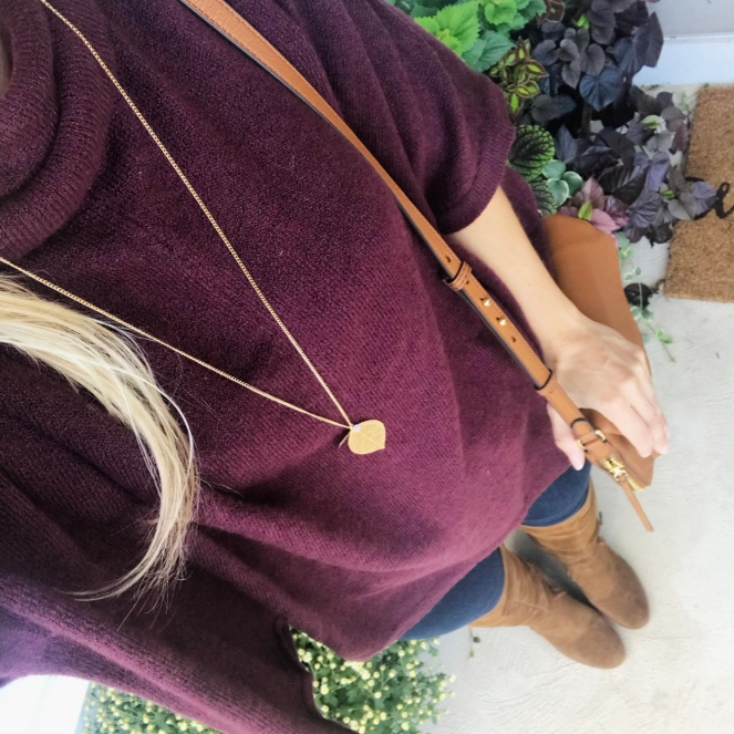 Burgundy poncho sweater and over the knee boots |www.pearlsandsportsbras.com|