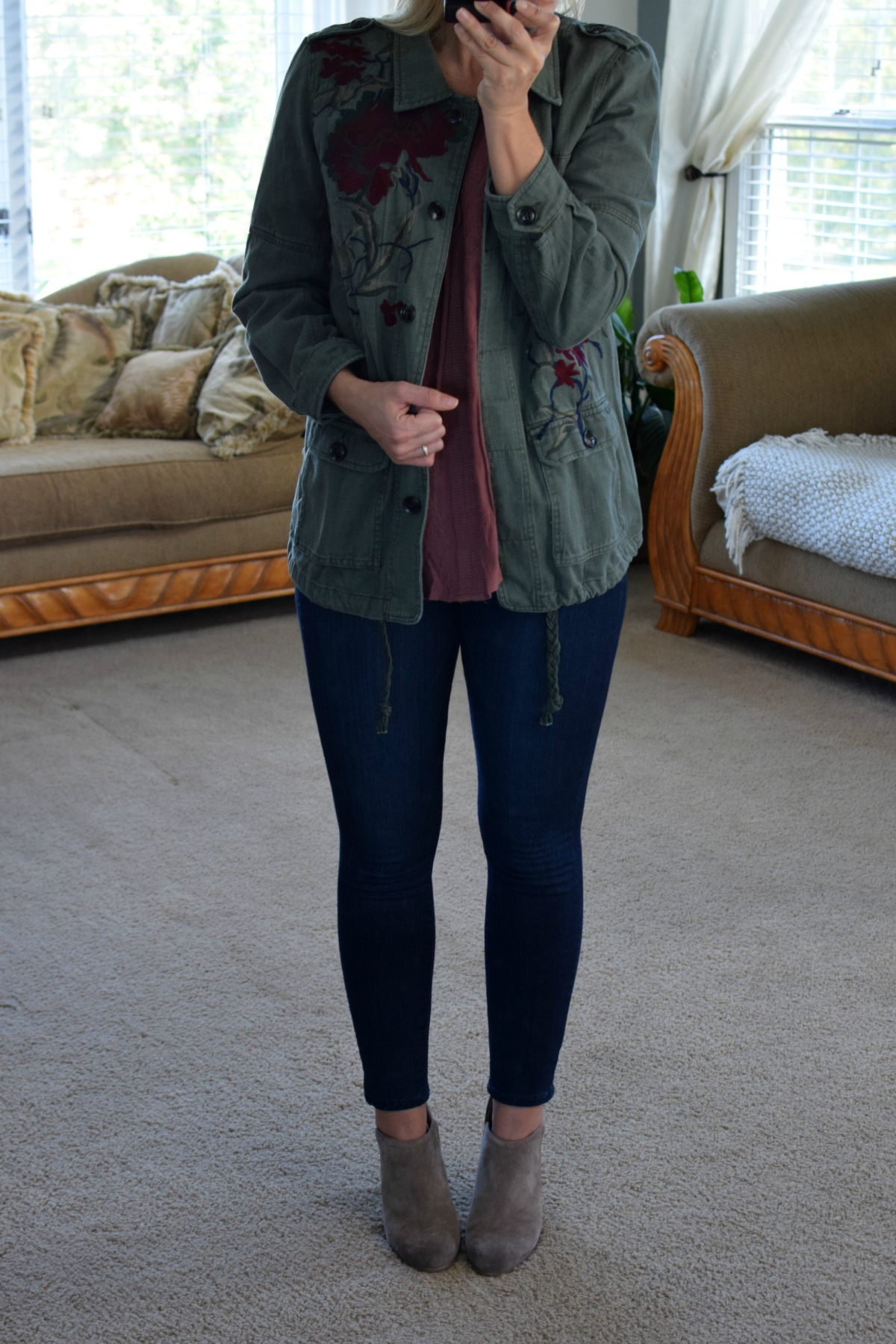 Stitch Fix Review October 2017: Laju Lydia Embroidered Cargo Jacket |www.pearlsandsportsbras.com|