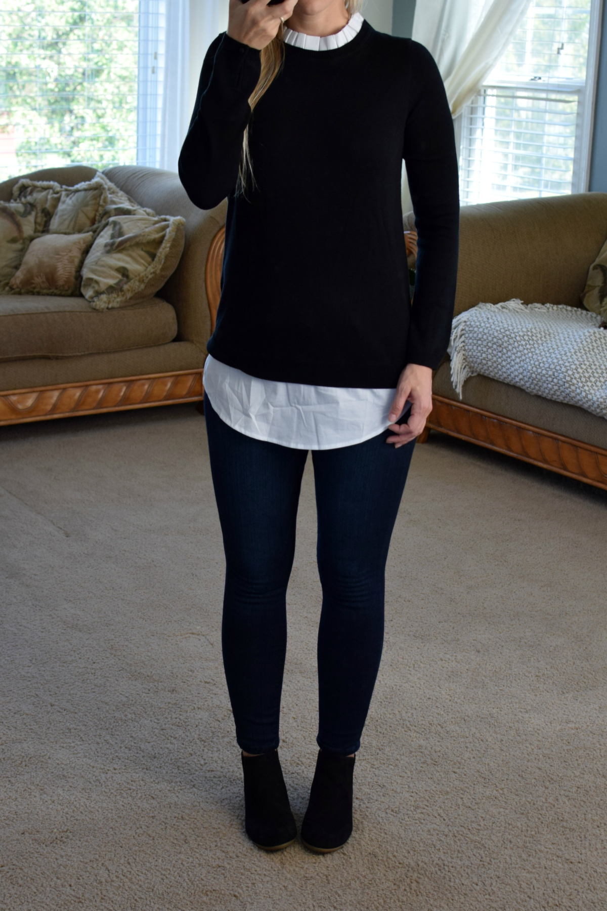 Stitch Fix Review October 2017: Truly Poppy Annamaria Pleated Woven Detail Sweater |www.pearlsandsportsbras.com|
