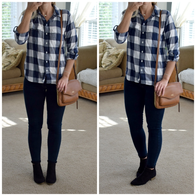 Flannel and booties are fall basics |www.pearlsandsportsbras.com|