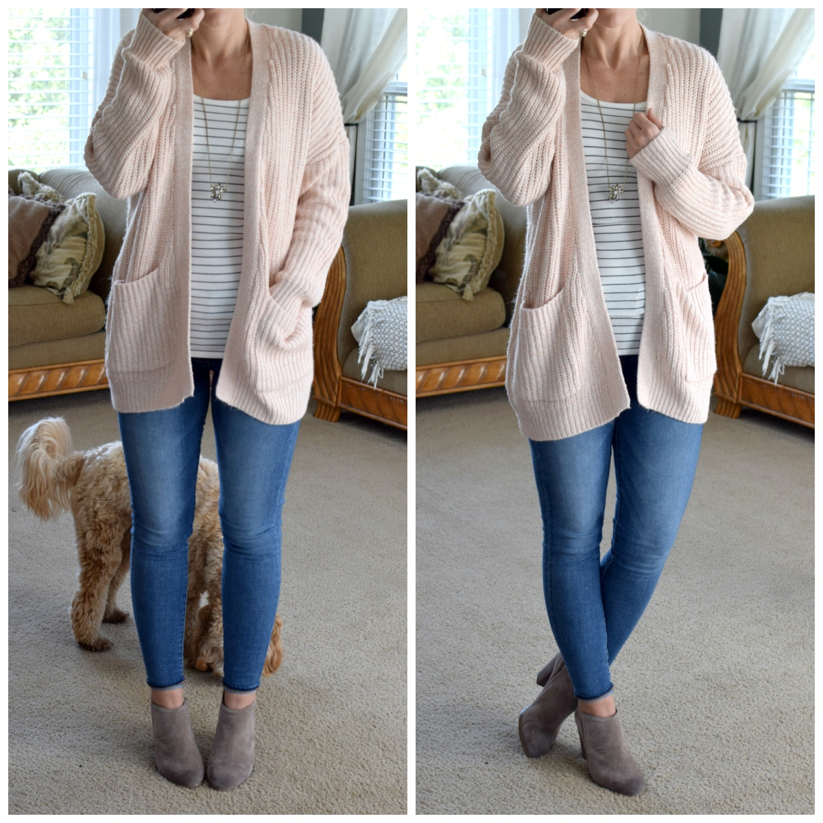 Oversied cozy cardigan and ankle booties |www.pearlsandsportsbras.com|