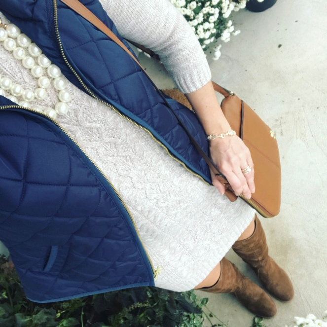 Cable knit sweater, quilted vest, and over the knee boots |www.pearlsandsportsbras.com|