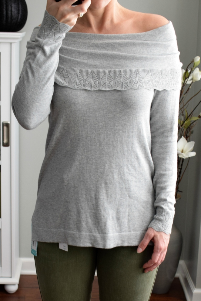 Stitch Fix Review November 2017: Leo & Nicole Bern Off the Shoulder Pointelle Detail Sweater |www.pearlsandsportsbras.com|