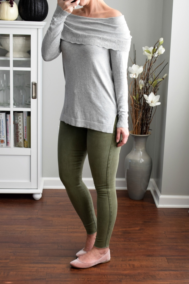 Stitch Fix Review November 2017: Leo & Nicole Bern Off the Shoulder Pointelle Detail Sweater and Level 99 Meela High Rise Skinny Jean |www.pearlsandsportsbras.com|
